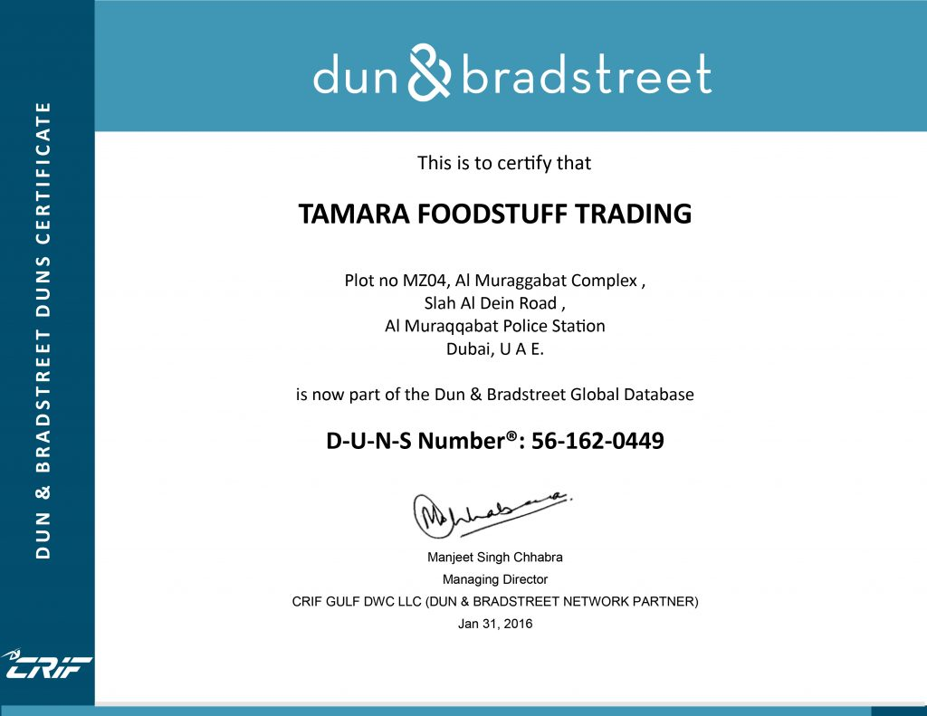 Tamara Foodstuff Trading | Certificate and Memberships